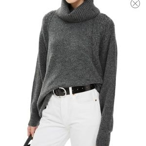 Gray Topshop turtleneck oversized slouchy sweater